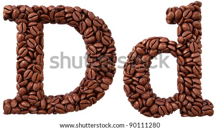 Alphabet from coffee beans. isolated on white.