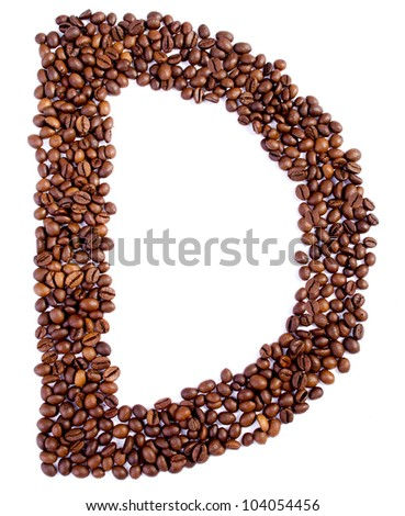 Alphabet from coffee beans. Isolated on white background.