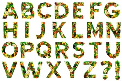 Alphabet from fresh vegetables a fruits isolated on white background