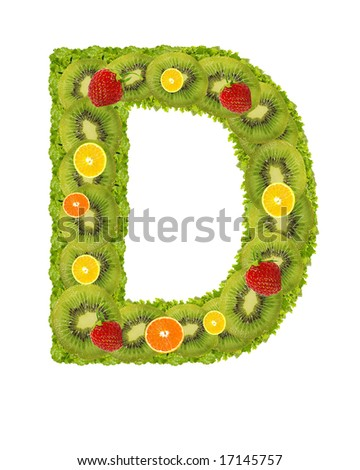 Alphabet from fruit isolated on a white background - D