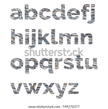 Alphabet from letters of stone. The letters are made of decorative stones #749270377