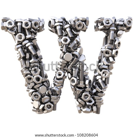 Alphabet from nuts and bolts. isolated on white.