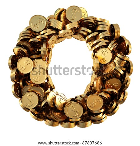 alphabet from the golden coins. isolated on white. including clipping path.