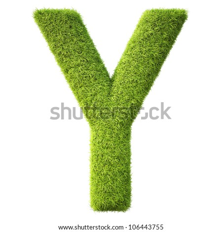 Alphabet from the green grass. isolated on white.
