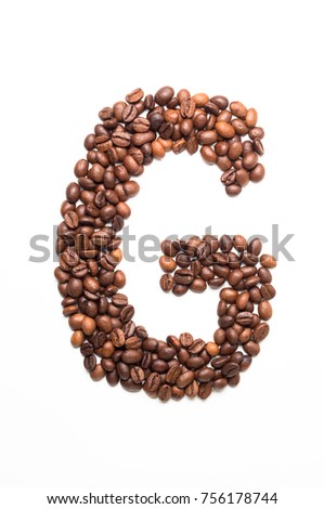 Alphabet G of coffee beans isolated on white background #756178744