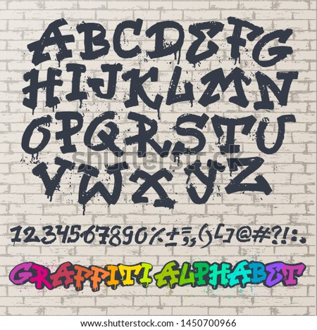 Alphabet graffity alphabetical font ABC by brush stroke with letters and numbers or grunge alphabetic typography illustration isolated on brick wall background