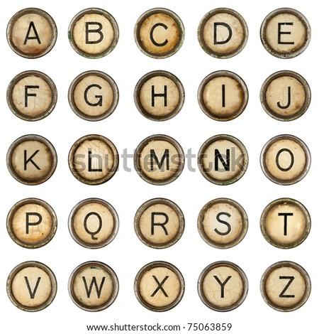 Alphabet, grunge typewriter keys in white background