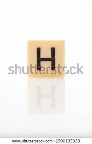 Alphabet H word block with white background. #1500135338