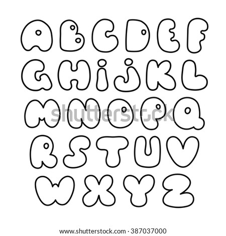 Hand drawn letters. Creative comic font. Fat letters. #387037000