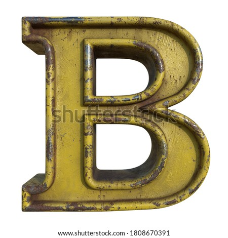 Alphabet in grunge style, letter B. A collection of symbols made of rusty corroded metal with peeling paint. Isolated on white. 3D illustration. Photo stock ©