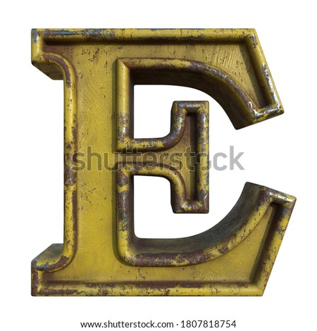 Alphabet in grunge style, letter E. A collection of symbols made of rusty corroded metal with peeling paint. Isolated on white. 3D illustration. Photo stock ©