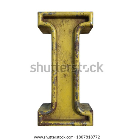 Alphabet in grunge style, letter I. A collection of symbols made of rusty corroded metal with peeling paint. Isolated on white. 3D illustration. Photo stock ©
