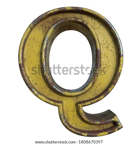 Alphabet in grunge style, letter Q. A collection of symbols made of rusty corroded metal with peeling paint. Isolated on white. 3D illustration. Photo stock ©