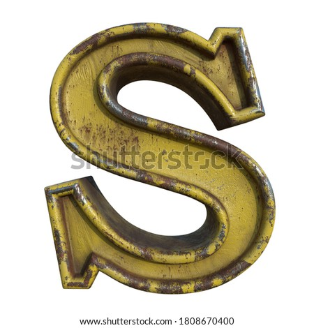 Alphabet in grunge style, letter S. A collection of symbols made of rusty corroded metal with peeling paint. Isolated on white. 3D illustration. Photo stock ©