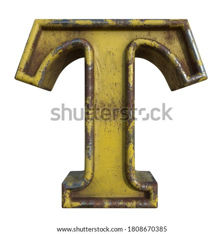 Alphabet in grunge style, letter T. A collection of symbols made of rusty corroded metal with peeling paint. Isolated on white. 3D illustration. Photo stock ©