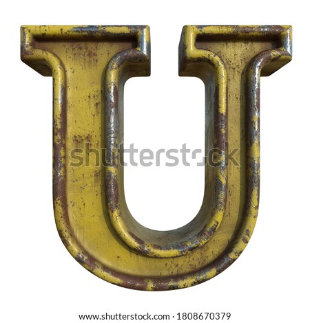 Alphabet in grunge style, letter U. A collection of symbols made of rusty corroded metal with peeling paint. Isolated on white. 3D illustration. Photo stock ©