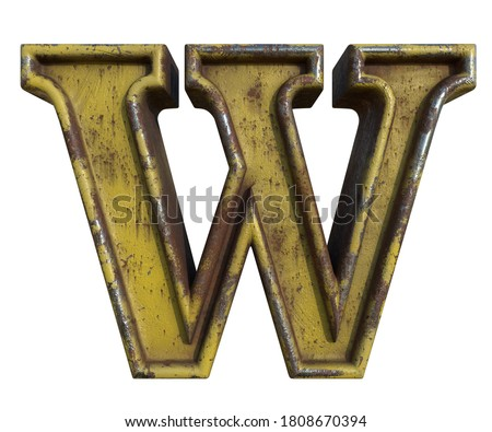 Alphabet in grunge style, letter W. A collection of symbols made of rusty corroded metal with peeling paint. Isolated on white. 3D illustration. Photo stock ©