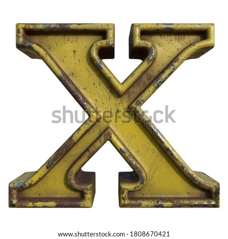 Alphabet in grunge style, letter X. A collection of symbols made of rusty corroded metal with peeling paint. Isolated on white. 3D illustration. Photo stock ©