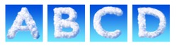 Alphabet letter A B C D made from clouds isolated on blue background. Letter collection design.