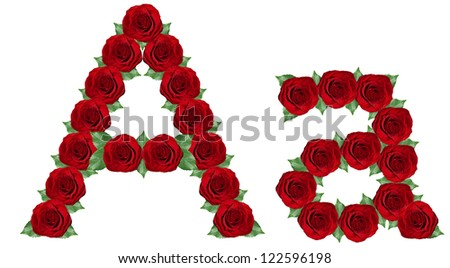 Alphabet. Letter A  made from red roses and green leaves isolated on a white background