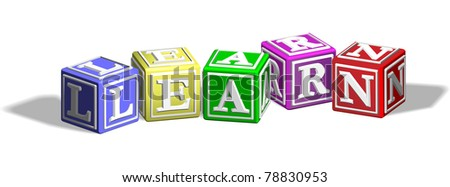 Alphabet letter blocks forming the word learn - stock photo