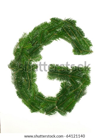"Alphabet Letter ""G"" made of Abies branches - stock photo"