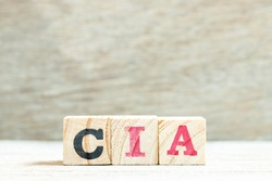 Alphabet letter in word CIA (abbreviation of certified internal auditor) on wood background