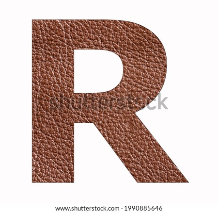 Alphabet letter R - Brown leather texture background Stock fotó ©