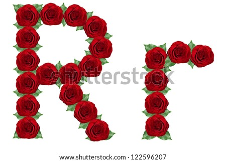 Alphabet. Letter R made from red roses and green leaves isolated on a white background - stock photo