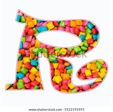 Alphabet letter R - Mini colored gum Stock fotó ©