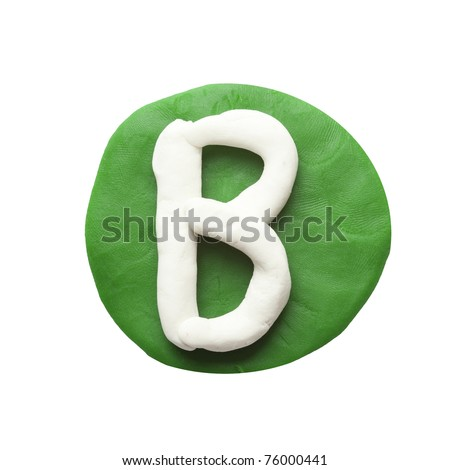 Alphabet letter using plasticine and clay. Letter B
