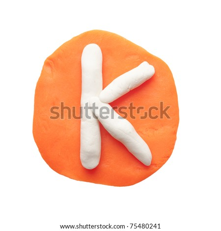 Alphabet letter using plasticine and clay. Letter K