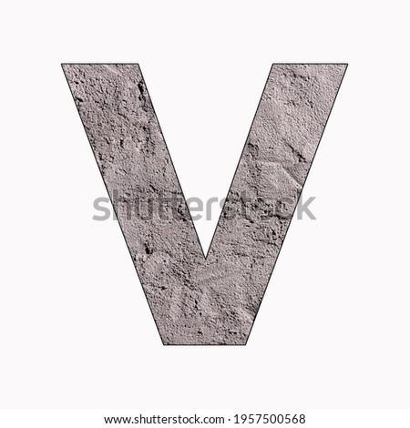 Alphabet letter V on gray stucco texture Photo stock ©