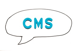 Alphabet letter with word CMS (Abbreviation of Content management system) in black line hand drawing as bubble speech on white board background