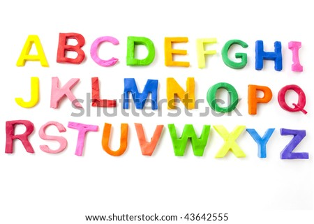 alphabet letters from childrens modelling clay or play doh