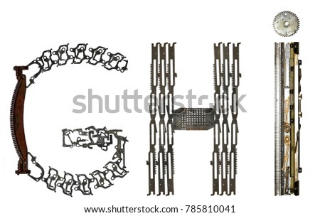 """alphabet letters """"G, H, I"""" assembled from metallic parts, isolated on white #785810041"""
