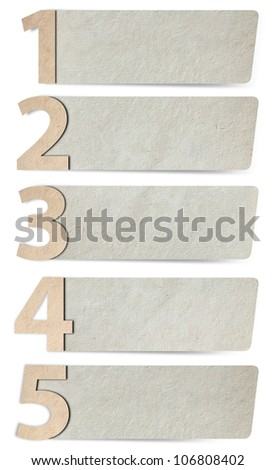 alphabet letters number paper and paper banners. isolated on white background ( 1 2 3 4 5 ) Save Paths For design work
