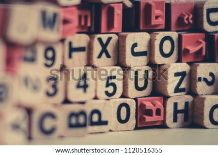 alphabet letters, numbers  on wood  cubes letter stamp - #1120516355