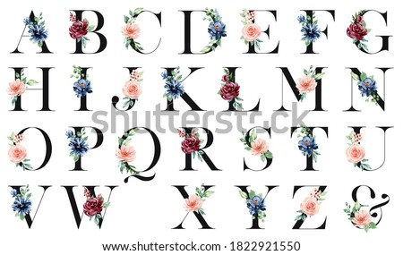Alphabet letters set with watercolor flowers and leaf. Floral monogram initials perfectly for wedding invitation, greeting card, logo, poster and other design. Hand painting.  Foto d'archivio ©