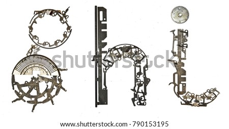 Alphabet low case letters `g, h, i` assembled from metallic parts #790153195