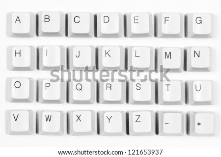 Alphabet made of letters from computer keyboard, white background