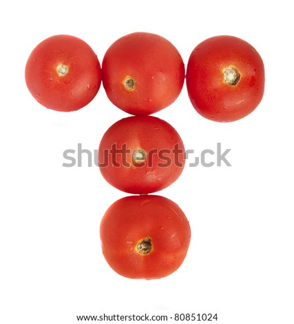 Alphabet made of tomato T