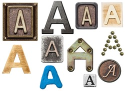 Alphabet made of wood, metal, plasticine. Letter A