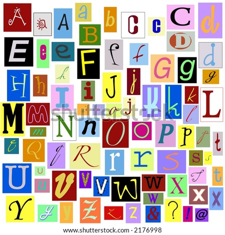 Magazine Letters isolated so you can make your own unique words ...