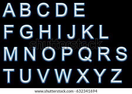 Alphabet neon printed