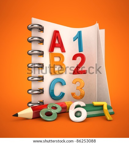alphabet notebook with pen and erase 3d rendered - stock photo