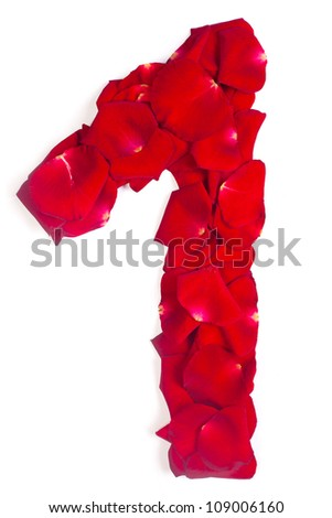 Alphabet number 1 made from red petals rose isolated on a white background