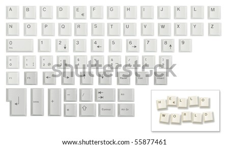 Alphabet, numbers and some other keyboard keys shot individually then cropped and combined in a single image, isolated on white. Meant as a design resource to compose messages. #55877461