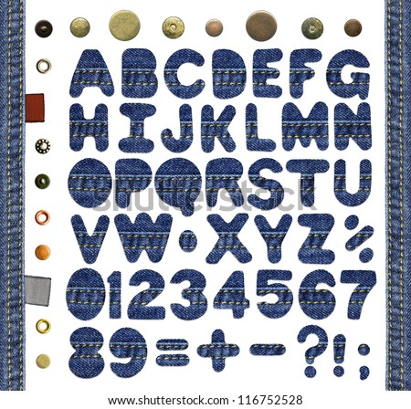 Alphabet, numbers, punctuation signs and symbols, made of blue jeans with seams, isolated over white background, denim frame, textile labels and metal rivets added as design elements