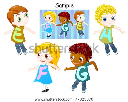 alphabet of childrens holding hands. clipping path included.